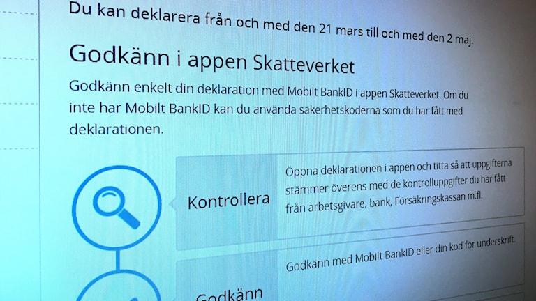 Bild på skärm som visar information från Skatteverket hur man deklarerar på nätet. Foto: Sveriges Radio
