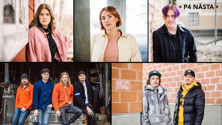 Kollage på alla fem finalister i P4 Nästa Västernorrland 2020. Överst från vänster: Alice Högbom, Nina Bring och SNOOW. Nedre raden från vänster: Gruppen Tjuvheder och duon Mindstate One. Foto: Petra Berggren