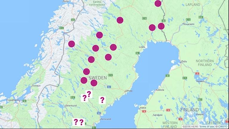 Karta med markerade orter där det idag finns sjukstugor i Norrbotten och Västerbotten. Frågetecken utsatta på flera orter i Västernorrland. Grafik: Sveriges Radio