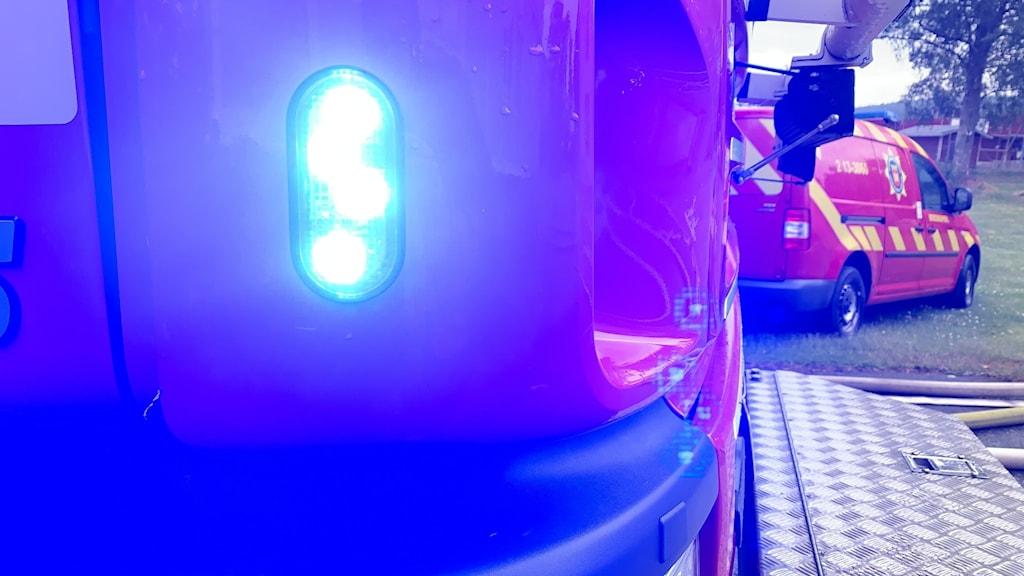 Blåljus på en av räddningstjänsten brandbilar.
