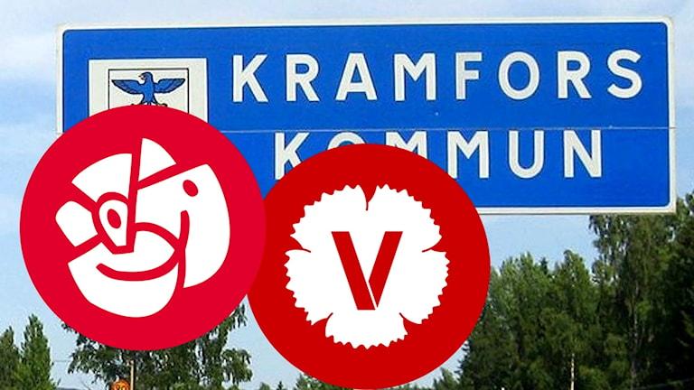 """Bildkollage. Vägskylt med texten """"Kramfors kommun"""" och partisymbolerna för Socialdemokraterna och Vänsterpartiet. Foto: Sveriges Radio"""