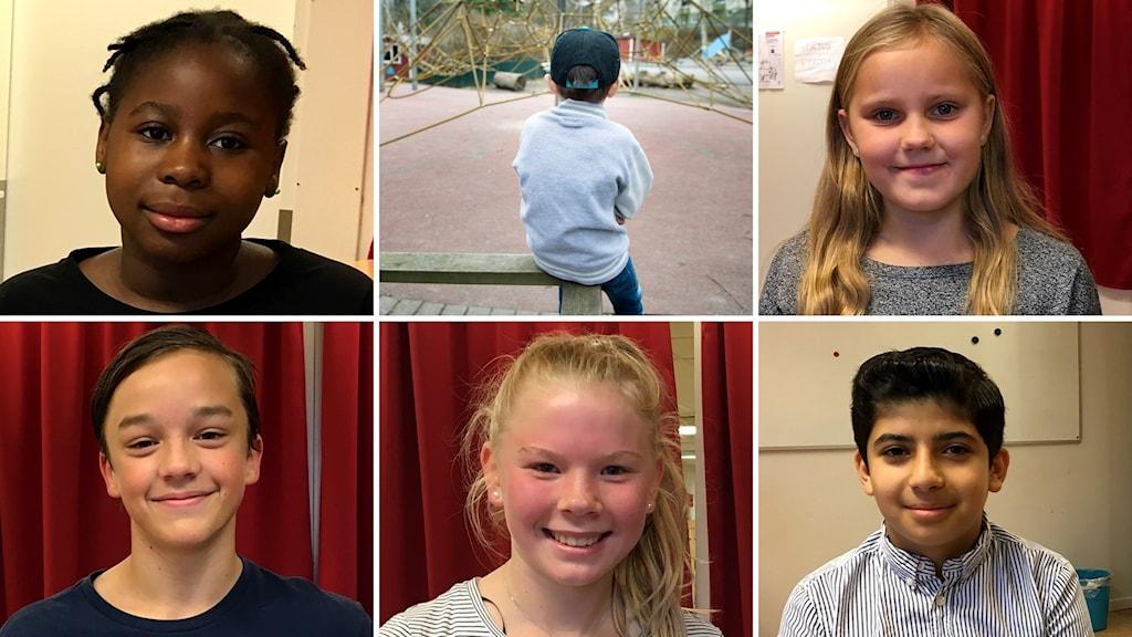 Cathiana, Milla, Joar, Nova och Farouk berättar om vad som gör att de kan känna sig otrygga. Foto: Ulla Öhman/Sveriges Radio och Jessica Gow/TT