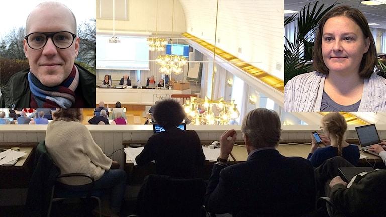 Bildkollage med porträtt på ledarskribent Marcus Bohlin (Sundsvalls tidning) och politiska redaktören Susanne Sjöstedt (Tidningen Ångermanland) infällda i bild från ett sammanträde i regionfullmäktige. Foto: Sveriges Radio/Privat