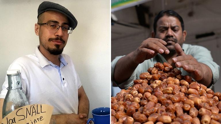 Bildkollage. Till vänster: Abaida Amin sitter vid ett köksbord med en blå kopp framför sig. Till höger. En driva med dadlar på en marknad i Pakistan. Foto: Anton Kårén/Sveriges Radio och Aamir Qureshi/AFP/TT