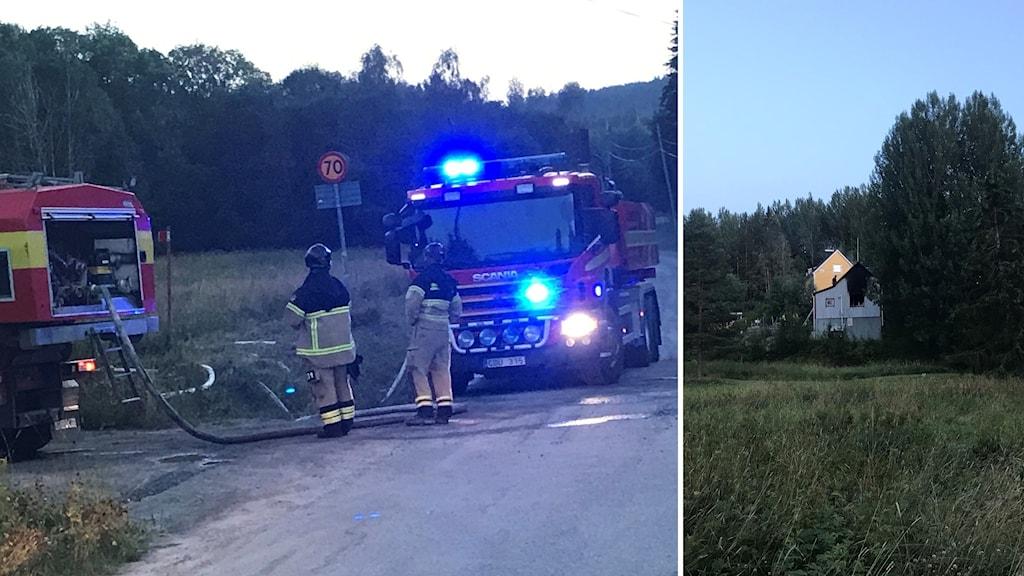 Två bilder. En med brandmän och en på hus som ser brunnet ut