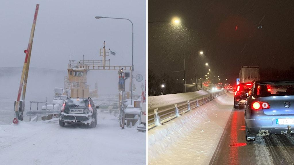 Färjan hemsön och bilkö E4 Timrå vinter