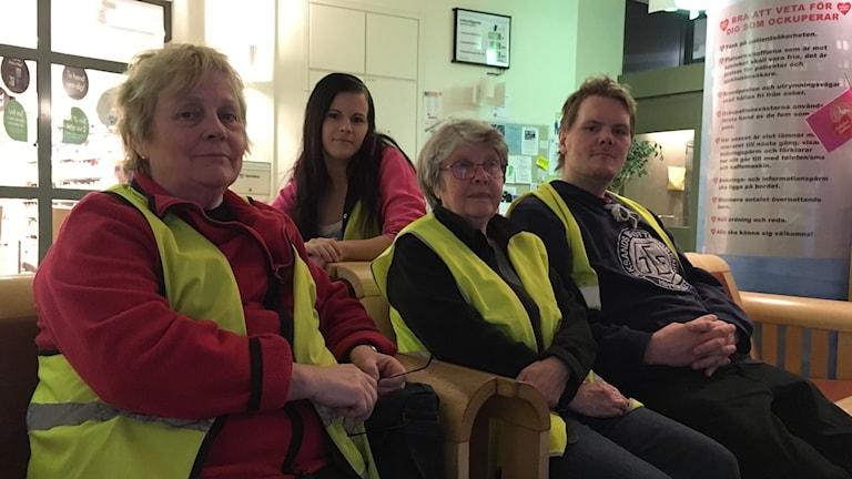 BB ockupanter på Sollefteå sjukhus från vänster Ulla Lundholm, Malin Modin och Anders Svennberg och  Sivan Strömqvist