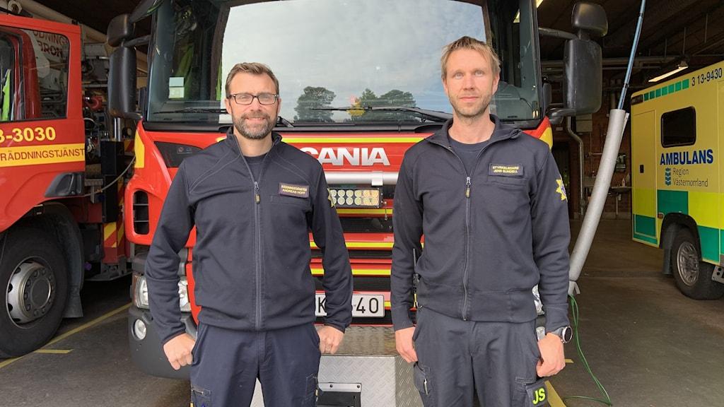 Brandmännen Andreas Hoff och Jens Sundell står framför en brandbil.