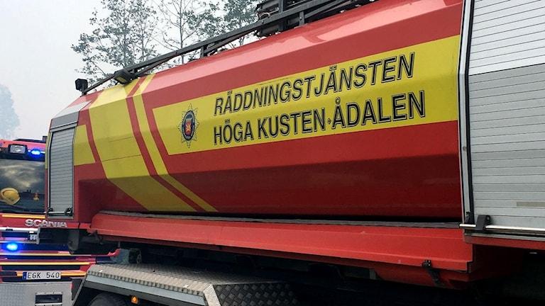 En brandbil från räddningstjänsten Höga Kusten Ådalen. Foto: