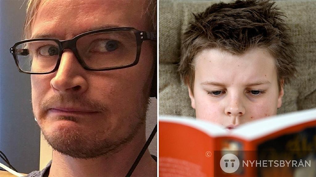Bildkollage med Jens och pojke som läser bok. Foto: Sveriges Radio och Henrik Montgomery/TT