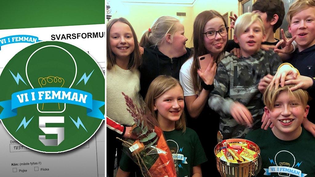 Till vänster: Vi i femman-loggan ligger över ett svarsformulär för klasserna som tävlar. Till höger: Klass 5 på Högoms skola jublar efter att ha vunnit den lokala finalen i Vi i femman 2020. Foto: Niklas Axelsson/Sveriges Radio