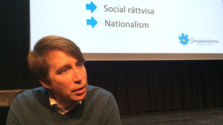 Richard Jomshof, partisekreterare i Sverigedemokraterna på besök i Sundsvall.