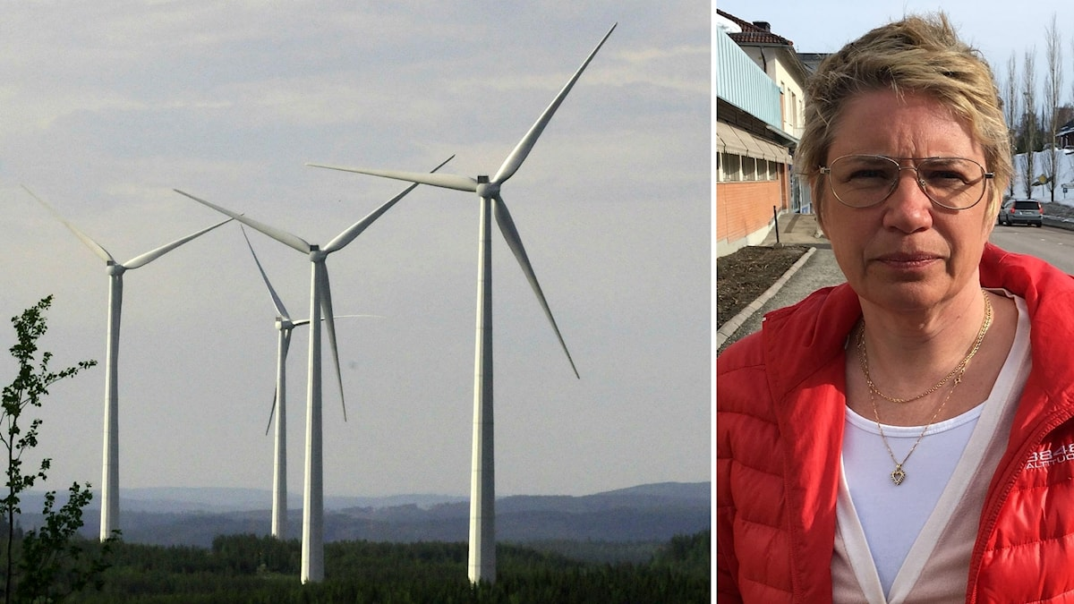 Bildkollage. Till vänster: Vindkraftverk mellan Ramsele och Hammerdal. Till höger: Åsa Sjödén (S), oppositionsråd i Sollefteå. Foto: Ingrid Engstedt Edfast/Sveriges Radio och Anton Kårén/Sveriges Radio