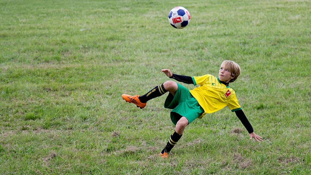 Ung pojke sparkar på boll. Foto: Adam Ihse/TT