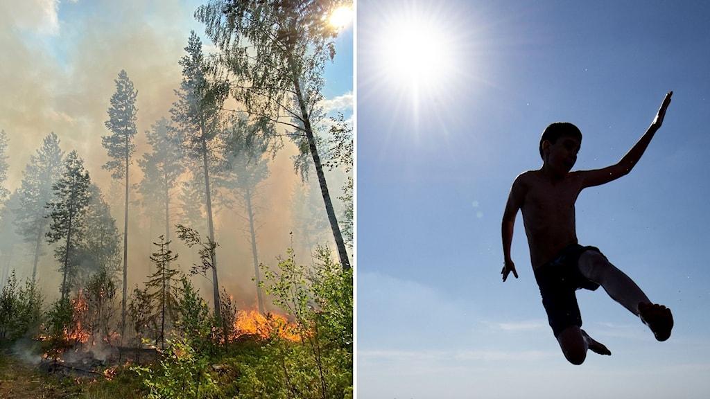 Två bilder. En på brinnande skog, den andra på person som hoppar i solljus