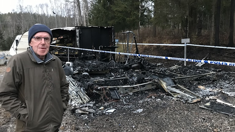 Bruno Nordins husvagn har brunnit ner