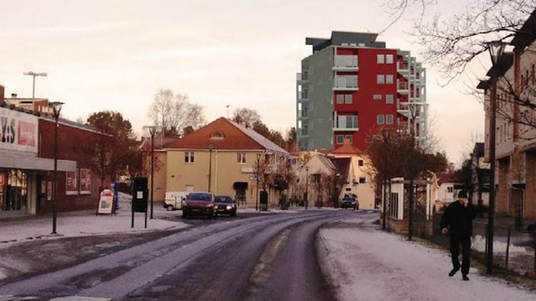 Skiss på Timråbos planerade bygge i Timrå.