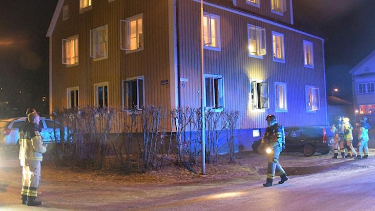 Brand flerfamiljshus Sundsvall. Foto Gobiten.se
