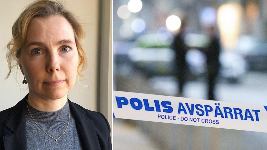En bild på åklagaren Karin Everitt och en bild på polisens avspärrningsband.