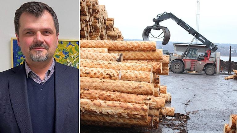 Bildkollage. Till vänster: Oliver Dogo, vd för Handelskammaren Mittsverige. Till höger: En kran flyttar timmer på Tunadal utanför Sundsvall. Foto: