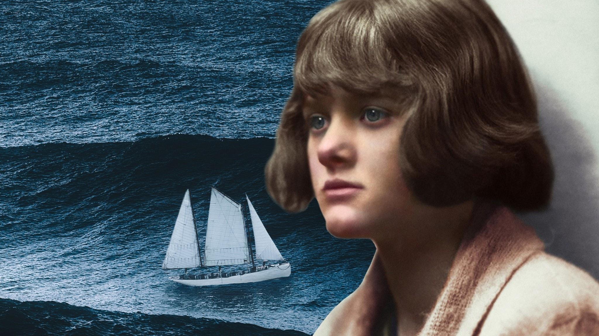 Författaren Daphne du Maurier i ett collage med en bild på ett hav och en segelbåt