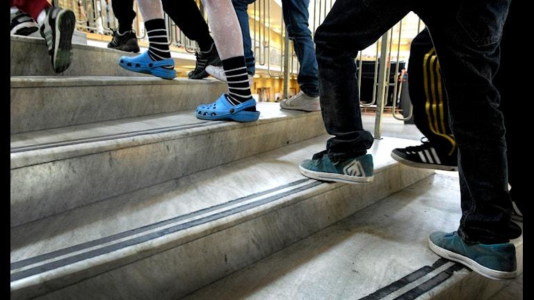 Elever i en skoltrappa. Foto TT Bildbyrå