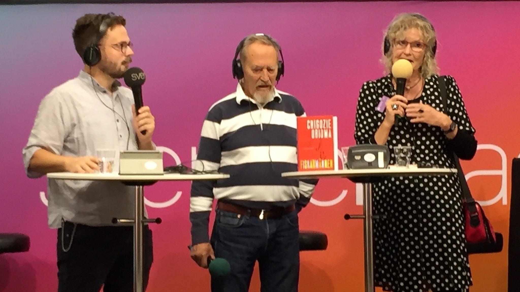 Joseph Knevel, Hans Mosesson, Mia Gerdin på scen på Bokmässan