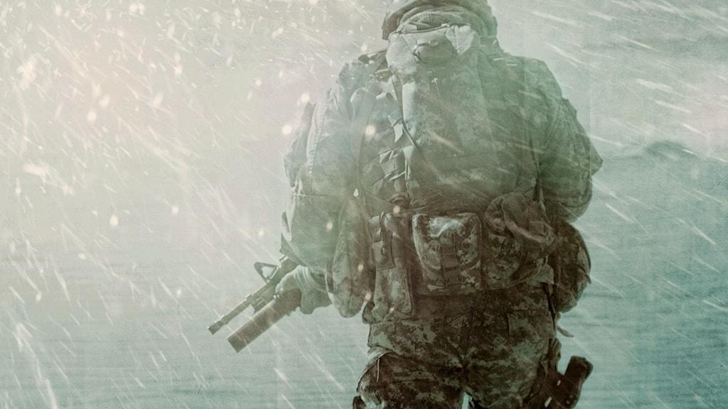 Soldat i snö