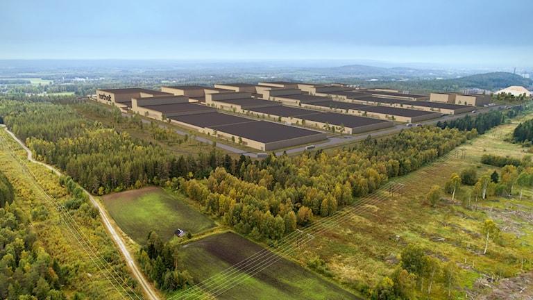Illustration över hur Northvolts batterifabrik ska se ut.