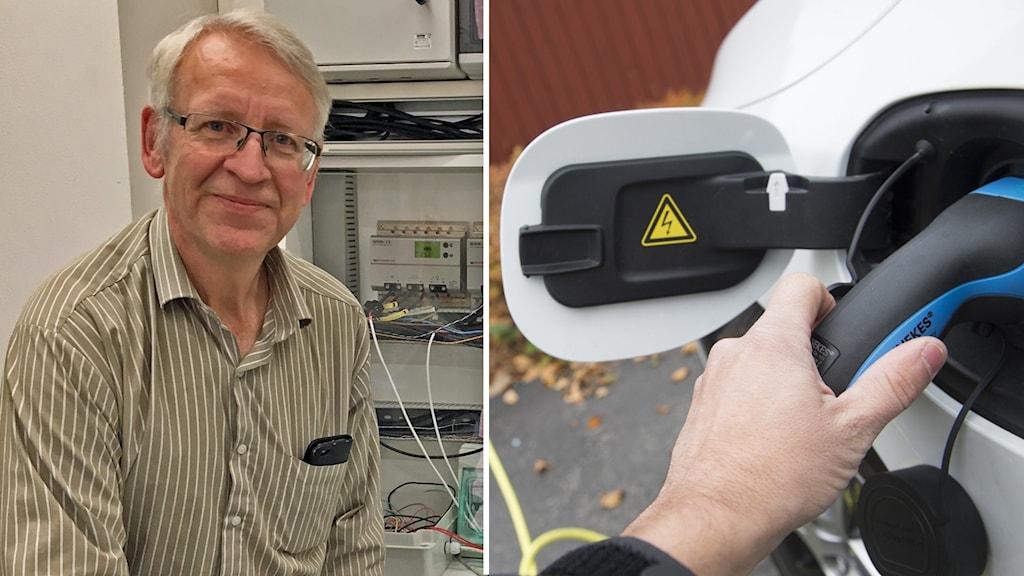 Professor Erik Dahlquist och en elbil.