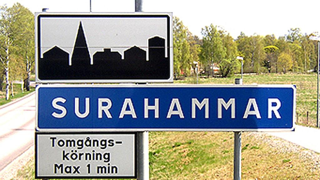 Surahammar Vägskylt. Foto: SR Västmanland.