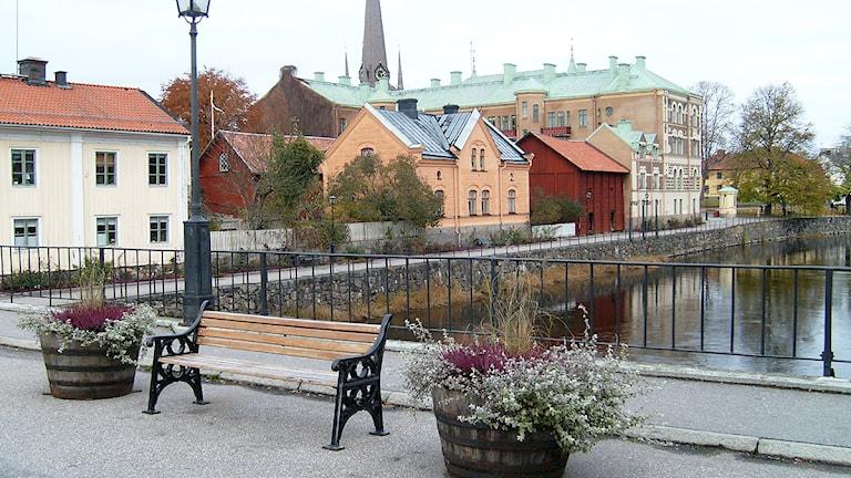 Arbogaån. Vy från Kapellbron. Foto: Kennet Lindquist/Sveriges Radio.
