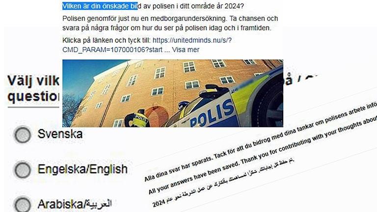 Montage som visar text på svenska, engelska och arabiska i Polisens medborgarundersökning.