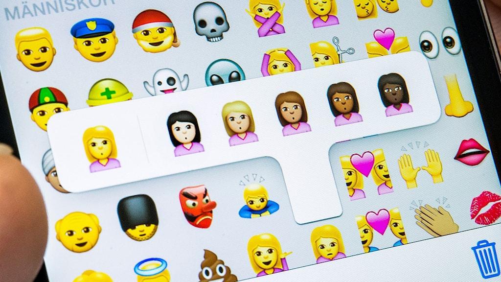 Emojis på mobilskärm.