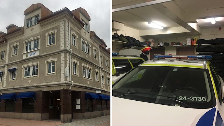 Polishuset i Sala och polisens garage.