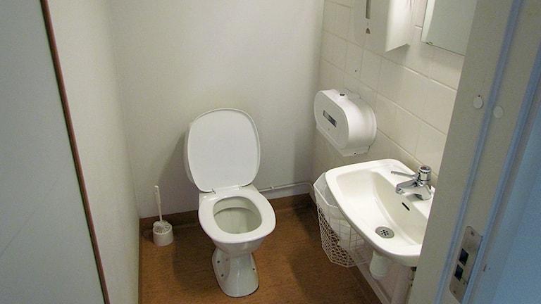 Toalett och tvättställ i ett litet toarum. Foto: SR