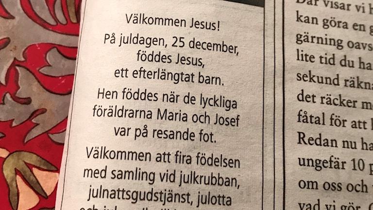 """Svenska kyrkan i Västerås annons i Västerås Tidning kallar Jesus """"hen""""."""