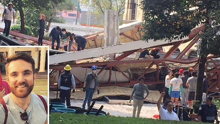 Fredrik Lamell från Västerås har drabbats av jordbävningen i Mexiko.