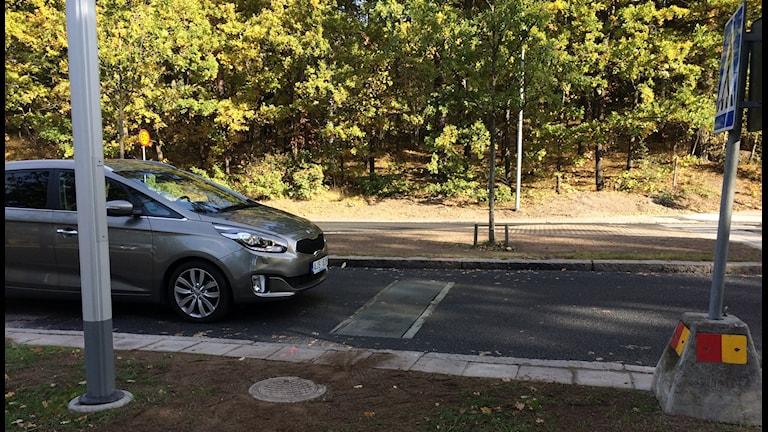 Det nya väghindret på Björnövägen i Västerås.