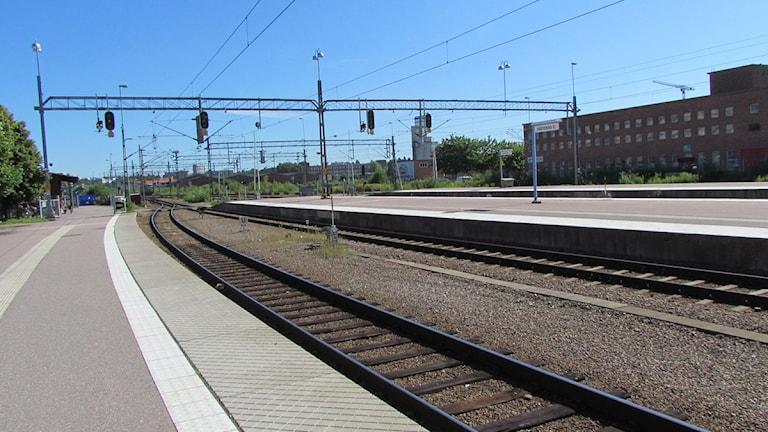 Tågspår vid Centralstationen i Västerås. Fotograf: Samira Jonsson/Sveriges Radio.