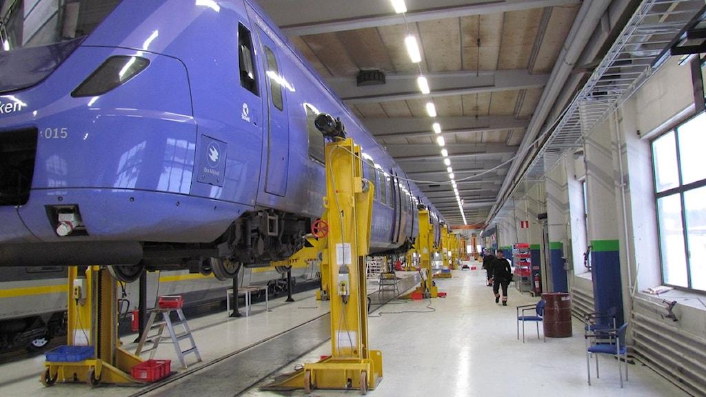 Ett av tågen de jobbar med på Swedtrac