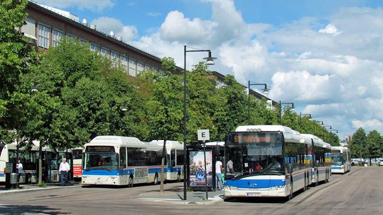 Bussar i Västerås centrum vid bussterminalen. Foto: Eva Kleppe/Sveriges Radio