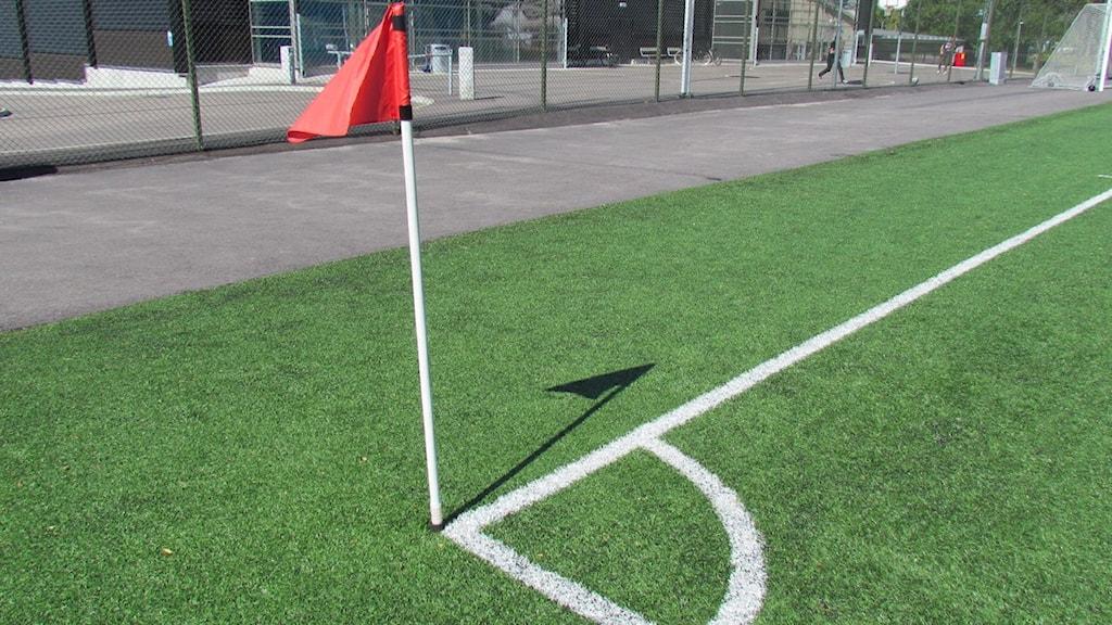 Hörnflagga fotboll genrebild. Foto: Samuel Sillén/Sveriges Radio.