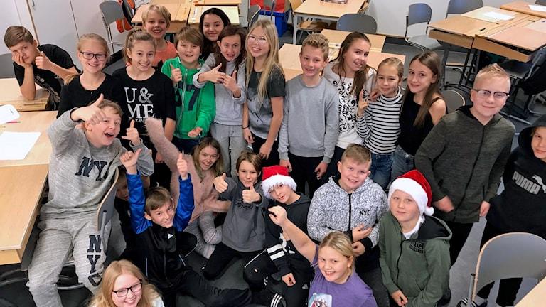 Mariaskolan 5B från Fagersta som tävlar i Vi i femman 2019.