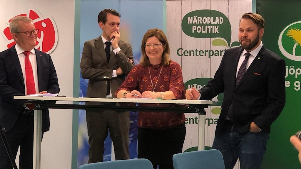 Anders Teljebäck (S), Jesper Brandberg (L), Vicki Skure-Eriksson (C) och Markus Lindgren (MP)