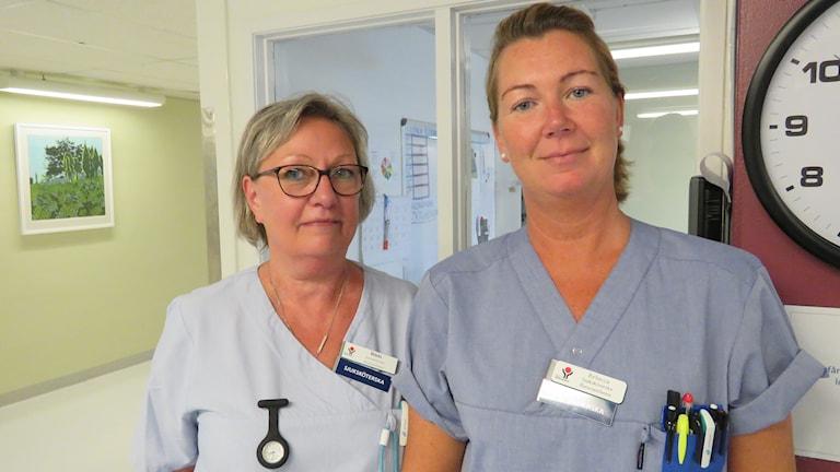 Sjuksköterskorna Bibbi Zakrisson Andersson och Rebecca Mattsmyr.
