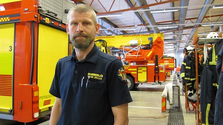 Fredrik Eriksson, brandingenjör. Foto: Audrey Erath/Sveriges Radio