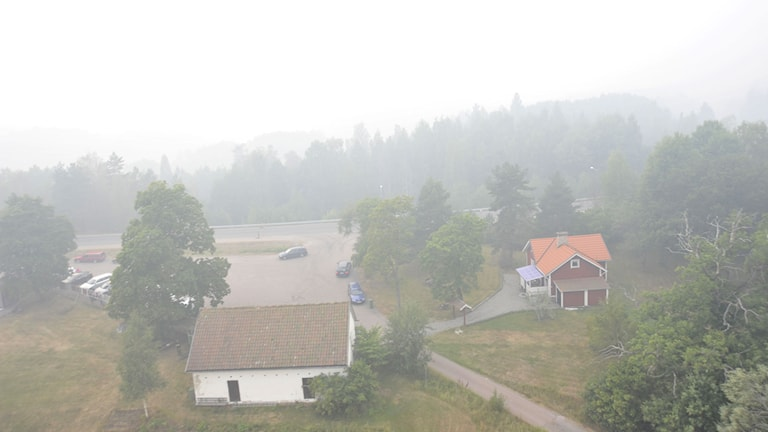 Flygbild över röktäckt gård efter skogsbranden i Västmanland. Foto: Andreas Irebring/Sveriges Radio.