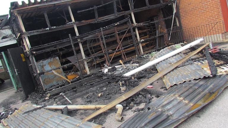 Del av Vasagymnasiet som blev utbränd. Foto: Kennet Lindquist/SR
