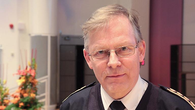 Lars-Göran Uddholm - Räddningsledare vid skogsbranden / Foto: Michael Gawell / SR